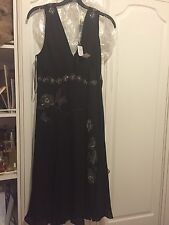 Brand New with Tags Silk Ted Baker Black Dress With Diamanté And Bead Detail.