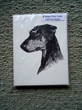 Uncropped Doberman Pinscher Dobie 18 Blank Notecards Linen Style Envelopes New