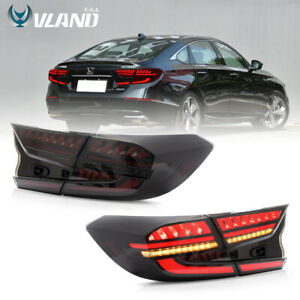 VLAND LED Tail Lights Fits For Honda Accord 2018-2020 LED Smoked Rear Lights