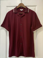 Reiss 'Alfred' Tipped Cuban Collar Shirt Bordeaux Size Small