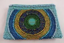 Small beaded bag blue gold green clutch circle zip top 5.5 by 4 inches