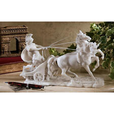 17th Century Roman Charioteer Charging Muscular Stallions Bonded Marble Statue