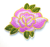 PURPLE + GOLD ROSE FLOWER 7cm Embroidered Sew Iron On Cloth Patch Badge APPLIQUE