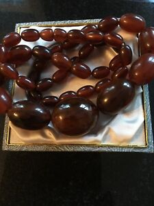 Antique cloudy  Amber Bakelite? Necklace 89g