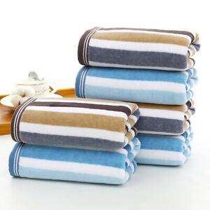 3-piece Cotton Towels Set Coloured Striped Face & Hair Towel 13.4 * 29.5 Inches