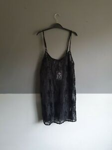 Womens Twiin Sheer Mesh Slip Star Dress Size 10 S Small Black