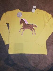 GAP Kids flip Sequin Reversible Unicorn Pink Yellow Girls Top Glitter 10-11 Year