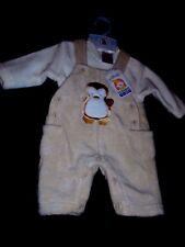 New, Babies Fleece Beige & cream 2 piece Dungaree suit outfit New Born BNWT