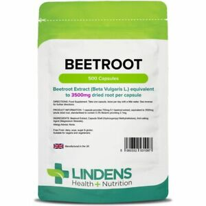 Lindens Super Strength Beetroot Extract 3500mg 500 Capsules Dietary Nitrates