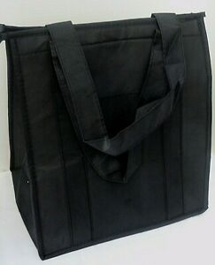 INSULATED REUSABLE GROCERY BAG - SOLID BLACK - Thermal Zipper Shopping Tote