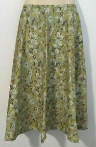 Ladies Retro Handmade Green Floral 50's A-line Skirt Midi Size 10