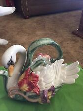 Fitz And Floyd Tulip Swan Teapot Hand Painted 1995