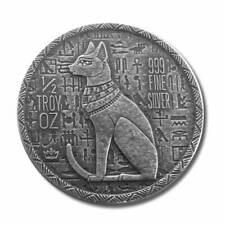 1 x 1/2 oz .999 Silver Round  Egyptian God Cat - Bastet Old World Style