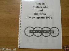 D0036 DKW---WAGEN MOTORRADER UND MOTOREN DAS PROGRAM DER AUTO UNION---1936-MODEL