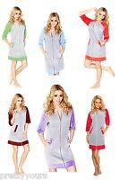 New Women Girl Cotton Housecoat Dressing Gown Bathrobe Zip Up Size UK 8 10 12 14