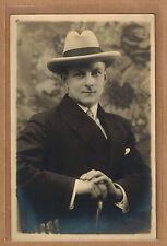Carte Photo vintage card RPPC Lonthie Anvers homme chapeau borsalino pz0284