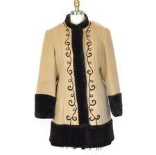 Vtg 1940's Women's Brown Wool Long Coat Faux Fur Hem Cuffs Soutache Trim Sz M/L