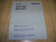 Sony RCP-920/921 Remote Control Panel Operation Manual