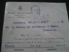 CARTA BANCO ZARAGOZANO A MANUEL ESCORIAZA Y FABRO 1938. MEMBRETE SALUDO A FRANCO