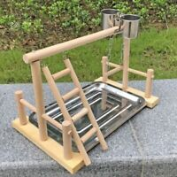 1X(Parrot Wood Stand Activity Center Ladder Swing Tray Cup Perch Bird Play  3J4)