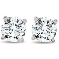 1/2ct Round Real Diamond Studs White Gold Brilliant Cut