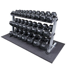 Heavy Duty Rubber Coated Dumbbell Set with Rack 5-70 lbs Pairs - Body-Solid