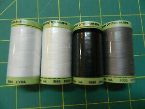 Lot of 4 Mettler Silk Finish Cotton 60 WT No. 322,4000,2000 , & 3000 875 yds on