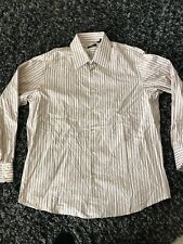 HUGO BOSS Brown Stripe Spread Collar LS Designer Dress Shirt Mens 17 1/2 EUC