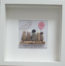 60th Birthday gift. Special Birthday Framed Pebble Art, Personalised. 70th 80th