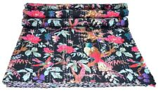 Kantha Quilt Indian Handmade Bedspread Cotton Bedding Size Bird Print Black Twin