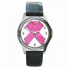 Breast Cancer Awareness Cure Support Leather Watch New!