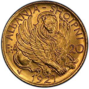 1927-V 20 FRA ALBANIA PCGS MS65, SKANDERBEG