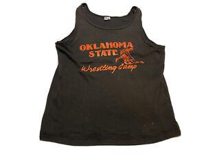 Vintage Champion 80s Oklahoma State Wrestling Camp Tank Top Size L Black