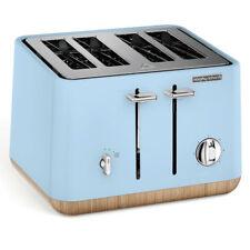 Morphy Richards Blue Scandi Azure Aspect 4 Slice Toaster + Kettle  Wooden Trim