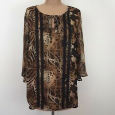 BeMe Jungle Print Top SZ 16 3/4 Sleeves Lace Pintuck Front Boho Chic Plus Size