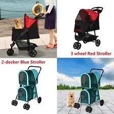 Pet Stroller Cat Dog Cage Travel Folding Carrier Small Puppy Stroller 2 Style