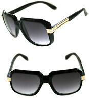 Men's Hip Hop 80's Vintage 607 Black Lens Sunglasses RUN DMC Black Gold Retro