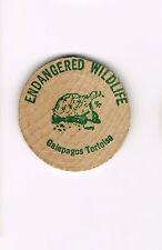 Vintage Wooden Nickel Token Endangered Wildlife Galapagos Tortoise FREE SHIPPING