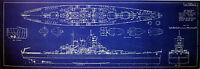 US Navy WW2 Battleship USS Washington BB-56 1941 Blueprint Plan 18x38  (155)