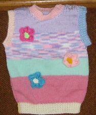 FLOWERS AND STRIPES  MULTI  COLOURS  VEST  NEW SIZE  1-2   HAND KNITTED VEST
