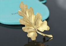 Estate Vintage Collectible Tiffany Co 14K Yellow Gold Florentine Leaf Pin Brooch