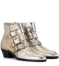CHLOÉ Chloe Susanna Ankle Boots In Metallic leather Brand New 40.5, UK 7.5