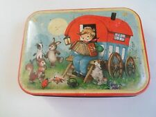 Vintage Empty Blue Bird Tin Decorated With Romany Caravan+Little Boy+Accordion