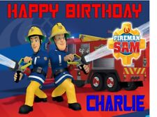 PERSONALISED FIREMAN SAM BIRTHDAY CAKE TOPPER A4 ICING SHEET anyNAMEage