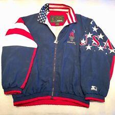 Vintage Starter '96 Atlanta USA Windbreaker Hidden Hood Jacket Colorblock Men XL
