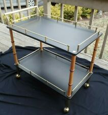 Vintage Modern 1970s Maxwell Phillips Bar Cart In Brass & Black Lacquer Estate