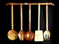 Set 5 mestoli in rame lavorazione artigianale con reggimestoli arredo cucina cas