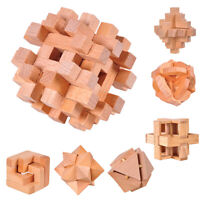 DI- Classic Wooden Puzzle Cube Ball Kongming Luban Lock Brain Teaser Adults Toy