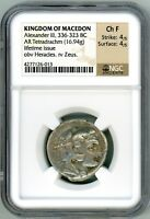 Macedon Alexander the Great Silver Tetradrachm Lifetime Issue NGC Ch F 4x4