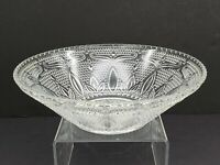 "Vintage Pressed Clear Glass Serving Bowl  10 3/4"" Diameter"